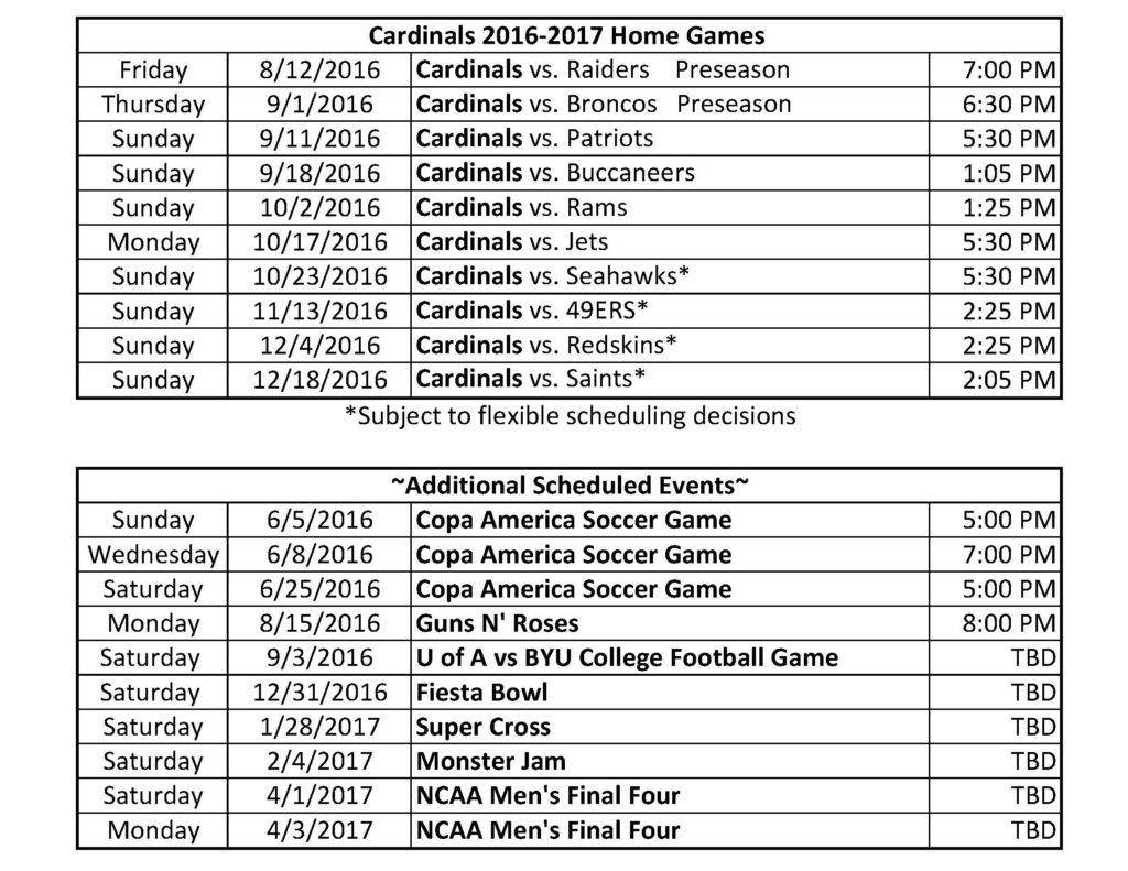 Cardinals Season Schedule 2016